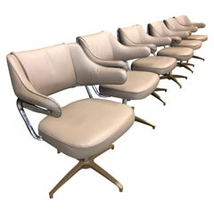 Set of 6 Mid-Century Modern Beige and Chrome Swivel Task Chairs