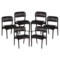 Set of 6 Mid-Century Modern Black Leather Dining Chairs