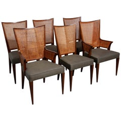 Set of 6 Mid-Century Modern Cane Back Dining Chairs Attributed to Baker