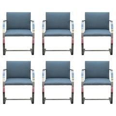 Set of 6 Mid-Century Modern Chrome Knoll Office Chairs with Grey Fabric