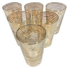 Set of 6 Mid-Century Modern Cocktail Glasses with Gold Band Decoration