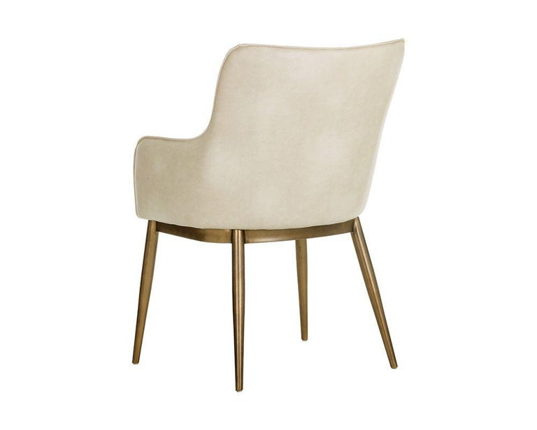 Set of 6, Modern Dining Chairs in Vintage Cream and Brass In New Condition For Sale In New York, NY