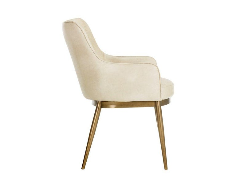 Contemporary Set of 6, Modern Dining Chairs in Vintage Cream and Brass For Sale