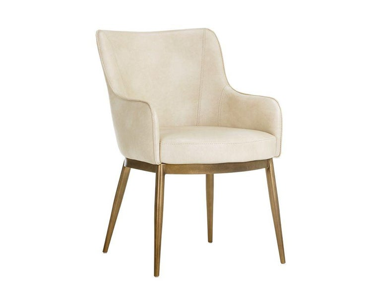 Metal Set of 6, Modern Dining Chairs in Vintage Cream and Brass For Sale