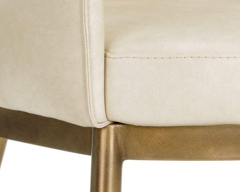 Set of 6, Modern Dining Chairs in Vintage Cream and Brass For Sale 1