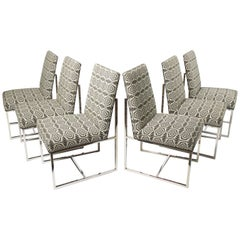 Set of 6 Mid-Century Modern Dinning Chairs in The Manner of Milo Baughman