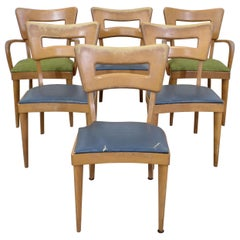 """Set of 6 Mid-Century Modern Heywood Wakefield Champagne """"Dogbone"""" Dining Chairs"""