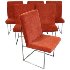 Set of 6 Mid-Century Modern Milo Baughman for Thayer Coggin Chrome Dining Chairs