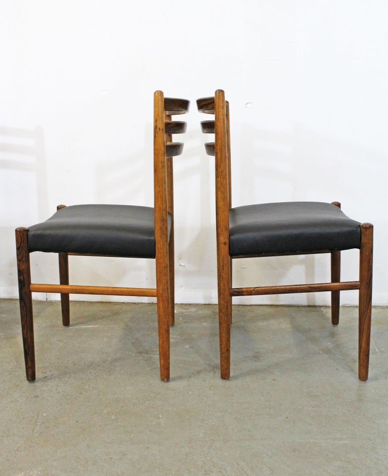 Set of 6 Mid-Century Modern Rosewood and Leather Dining Chairs For Sale 1