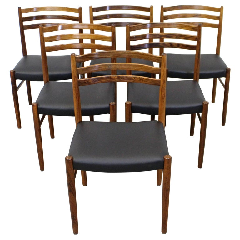 Set of 6 Mid-Century Modern Rosewood and Leather Dining Chairs For Sale