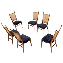Set of 6 Mid-Century Modern Sculpted Walnut Frames Cane Back Dining Chairs
