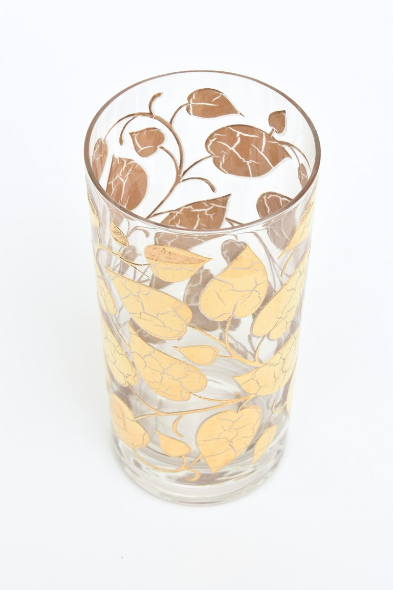 Set of 6 Mid-Century Modern Signed Georges Briard Glass Gold Highballs/ Barware For Sale 5