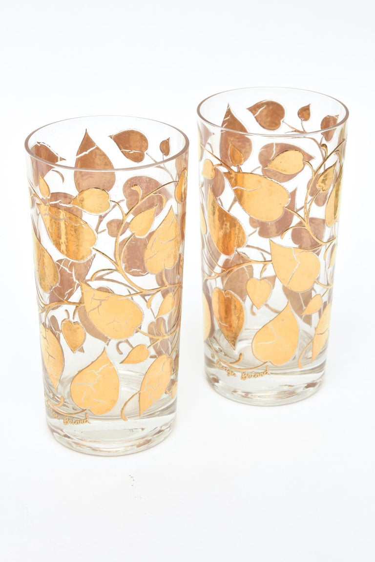 Mid-20th Century Set of 6 Mid-Century Modern Signed Georges Briard Glass Gold Highballs/ Barware For Sale