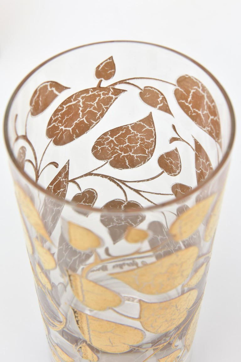 Set of 6 Mid-Century Modern Signed Georges Briard Glass Gold Highballs/ Barware For Sale 1