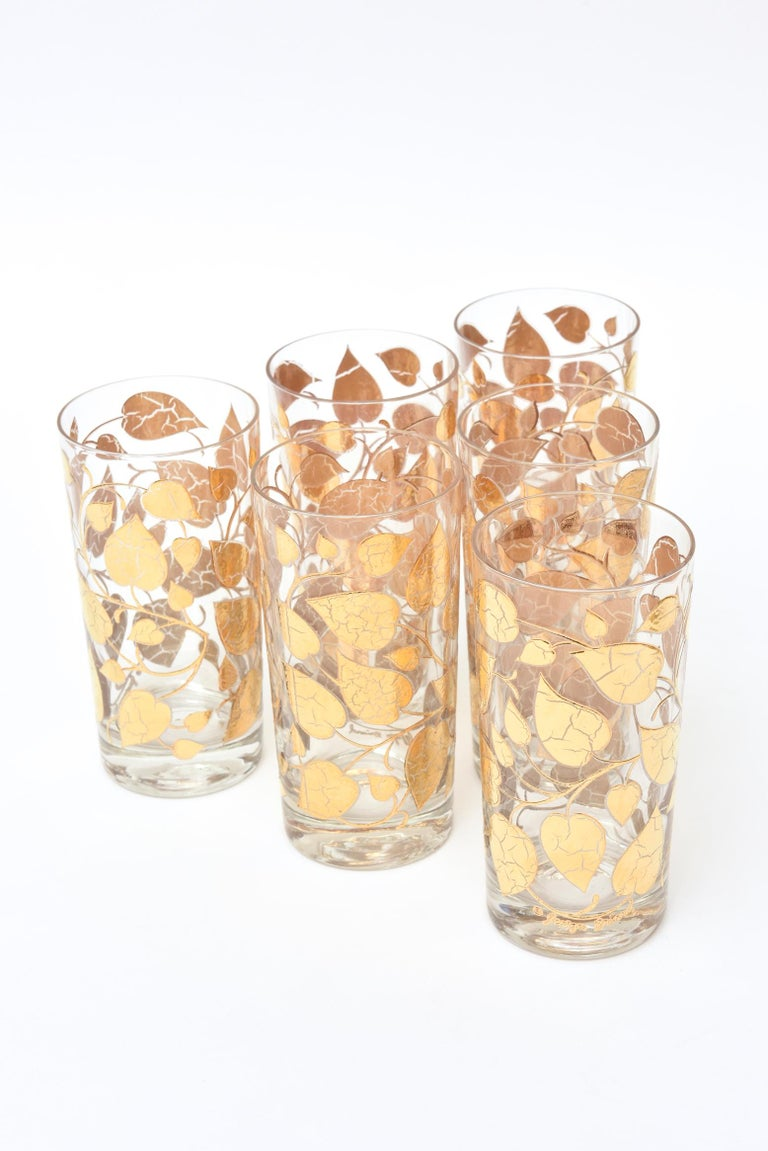 Set of 6 Mid-Century Modern Signed Georges Briard Glass Gold Highballs/ Barware For Sale 2