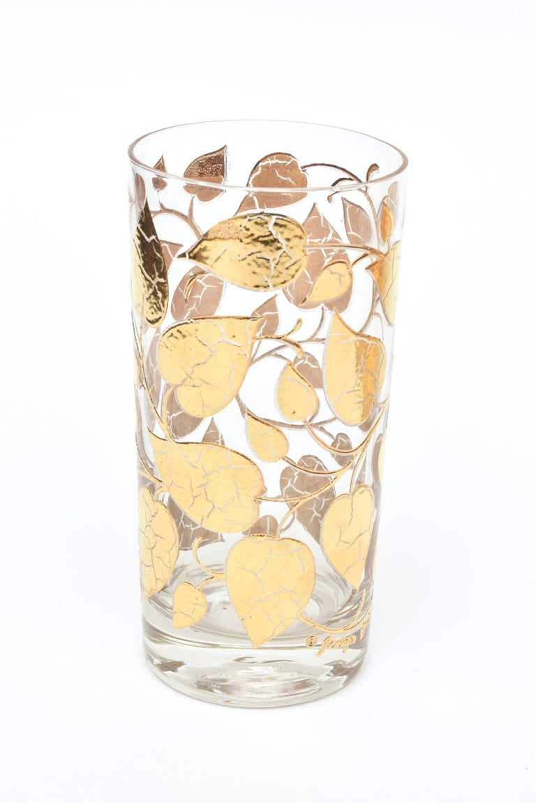 Set of 6 Mid-Century Modern Signed Georges Briard Glass Gold Highballs/ Barware For Sale 3