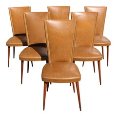 Set of 6 Mid-Century Modern Solid Mahogany Dining Chairs, 1960s