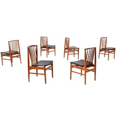 Set of 6 Mid-Century Modern Sylve Stenquist for DUX Teak Dining Chairs, 1950's