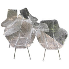 Set of 6 Mid-Century Modern Wire Mesh Sculptura Dining Chairs by Russell Woodard