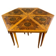 Set of 6 Mid Century Triangle Tables Hexagon Coffee Side Table Inlaid Pattern