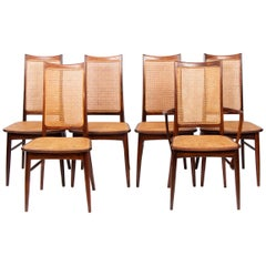 Set of 6 Midcentury Danish Rosewood and Cane Dining Chairs by Niels Koefoed