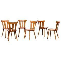 Set of 6 Midcentury Blonde Gilbert Marklund Inspired Brutalist Farm Chairs