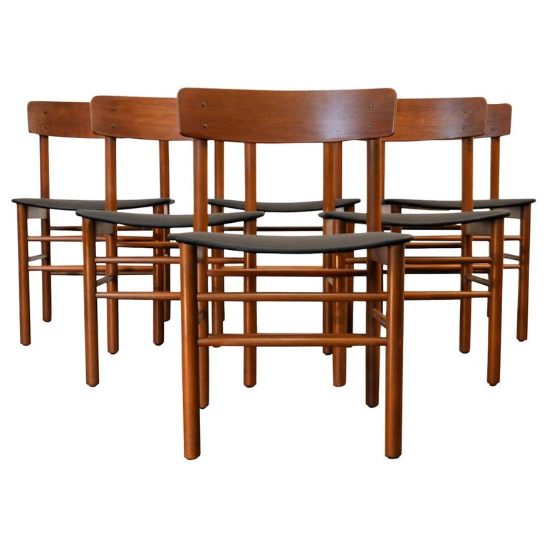 Set Of 6 Midcentury Farstrup Teak Beech Dining Chairs For Sale At