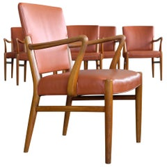 Set of 6 Midcentury Danish Dining Chairs Cognac Color Leather Seats and Backs