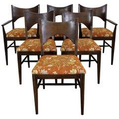 Set of 6 Midcentury Danish Modern McCobb Style Broyhill Walnut Dining Chairs