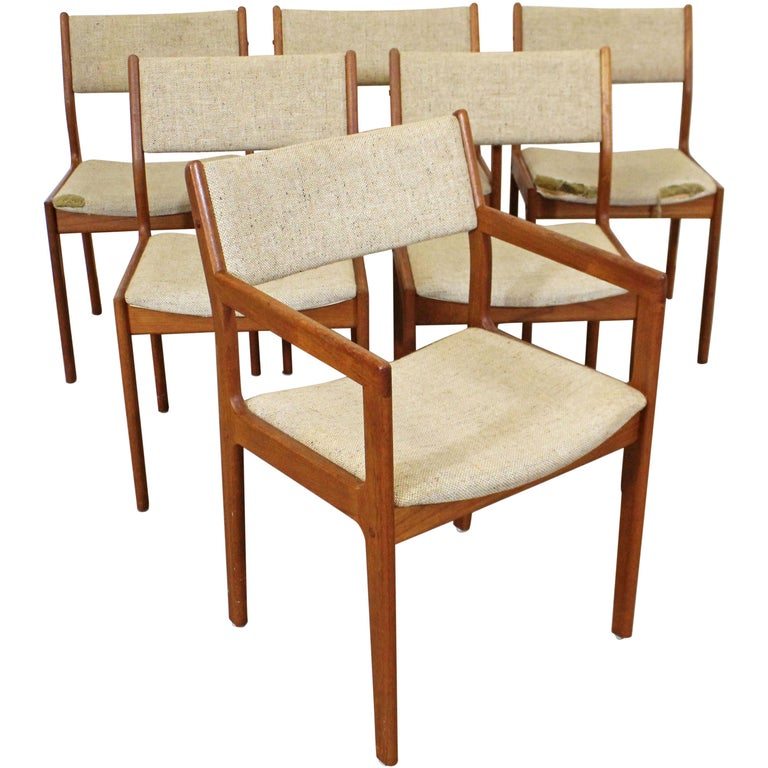 Set of 6 Midcentury Danish Modern Teak Dining Chairs For Sale