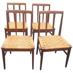 Set of 6 Midcentury Danish Rosewood and Woven Dining Chairs
