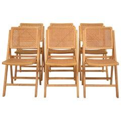 Set of 6 Midcentury Danish Teak & Cane Folding Side Chairs in Light Brown, 1960
