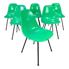 Set of 6 Midcentury DSX Fiberglass Chairs by Charles Eames for Herman Miller