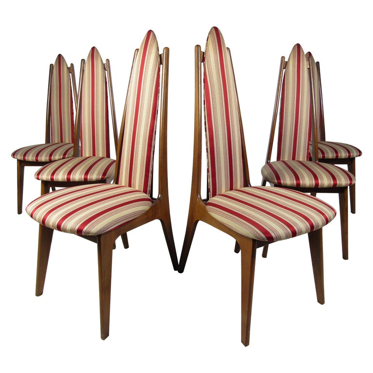 Set of 6 Midcentury Highback Dining Chairs Attributed to Adrian Pearsall For Sale