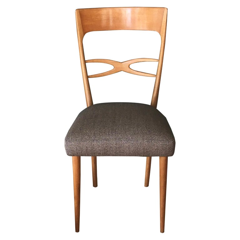 Set Of 6 Midcentury Italian Dining Chairs, 1950s, Blond