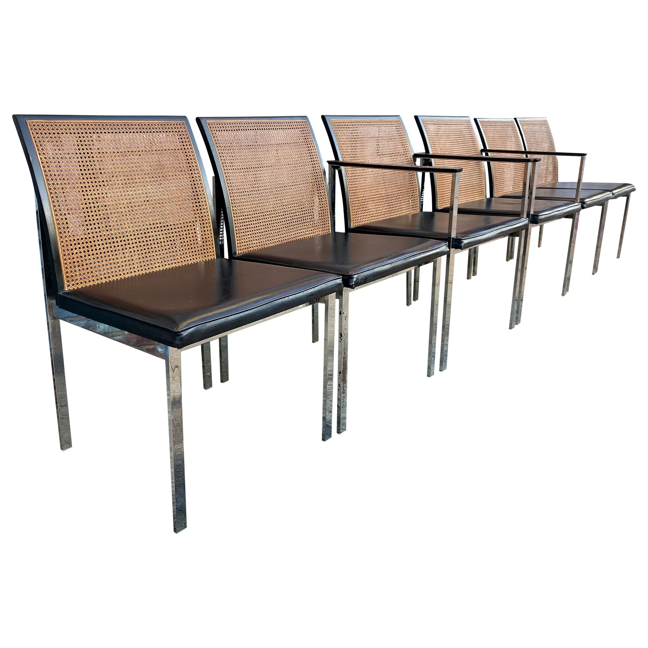 Set of 6 Midcentury Paul McCobb for Lane Chrome Black Cane Back Dining Chairs
