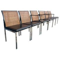 Set of 6 Midcentury Paul McCobb for Lane Chrome Black Cane Back Dining Chairs
