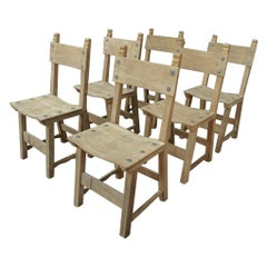 Set of 6 Midcentury Solid Oak Dining Chairs, circa 1950