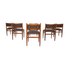 Set of 6 Midcentury Solid Teak and Brown Leather Strapped Dining Chairs, 1960s