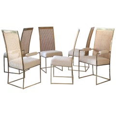 Set of 6 Milo Baughman Brass and Cane Dining Chairs in Boucle for Thayer Coggin