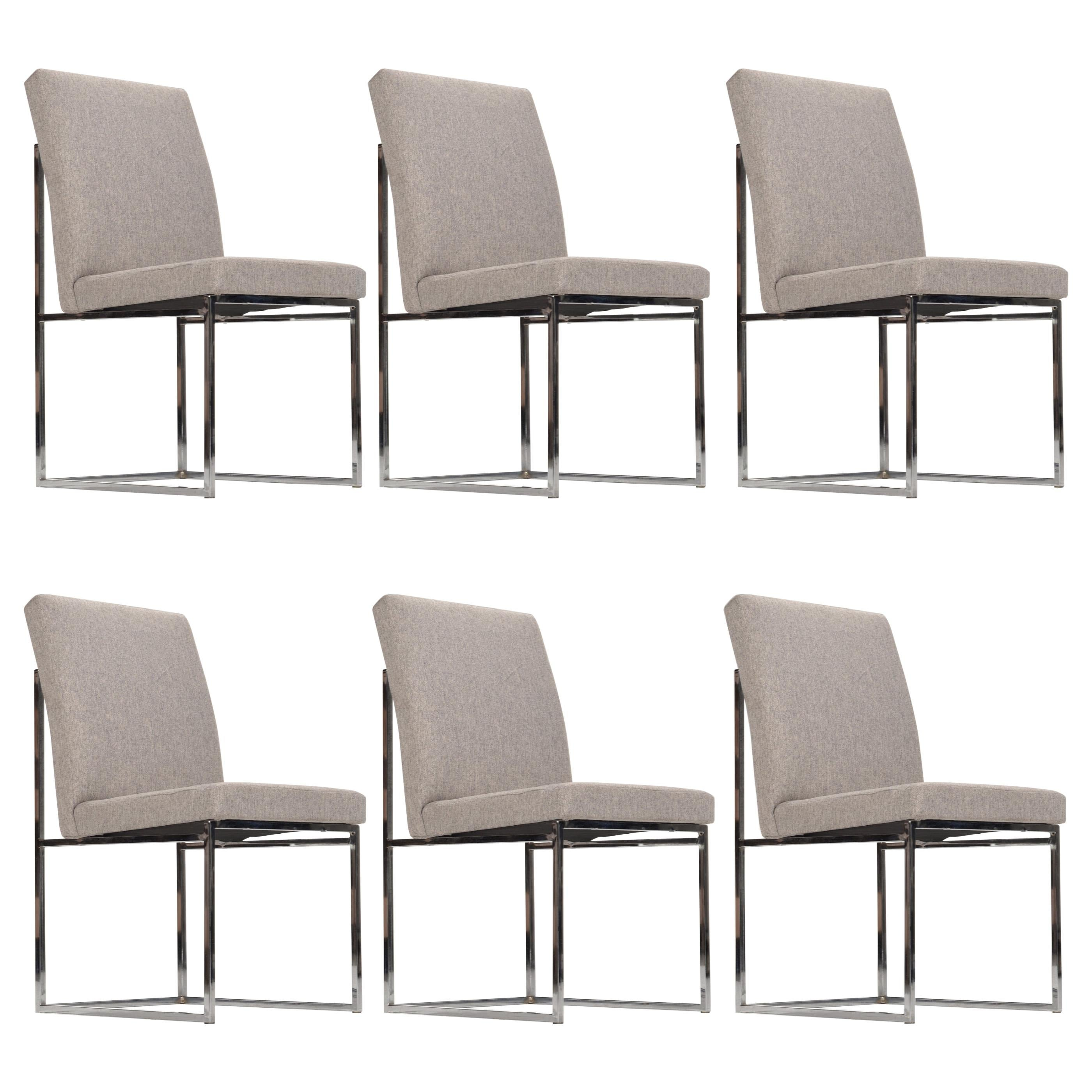 Set of 6 Milo Baughman Style Chrome Dining Chairs