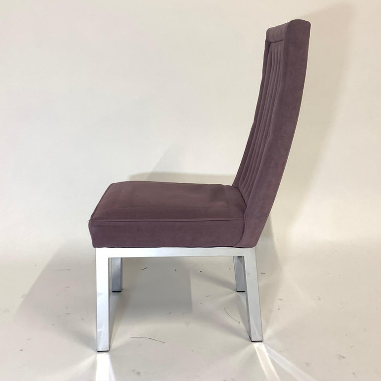 Set of 6 Milo Baughman for Design Institute of America DIA Chrome Parsons Chairs For Sale 4