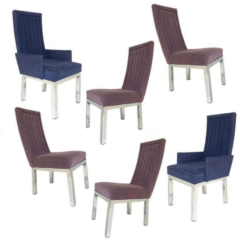 Mid-Century Modern Set of 6 Milo Baughman for Design Institute of America DIA Chrome Parsons Chairs For Sale