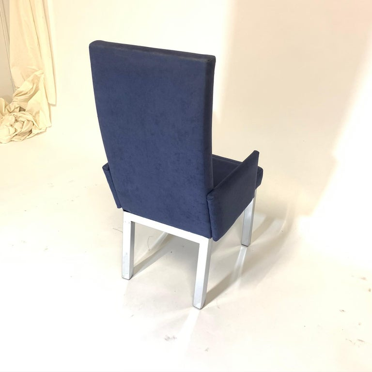 Set of 6 Milo Baughman for Design Institute of America DIA Chrome Parsons Chairs In Good Condition For Sale In Hudson, NY