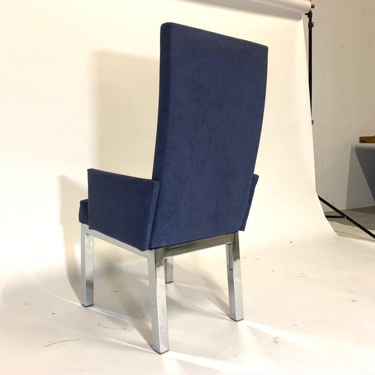 20th Century Set of 6 Milo Baughman for Design Institute of America DIA Chrome Parsons Chairs For Sale