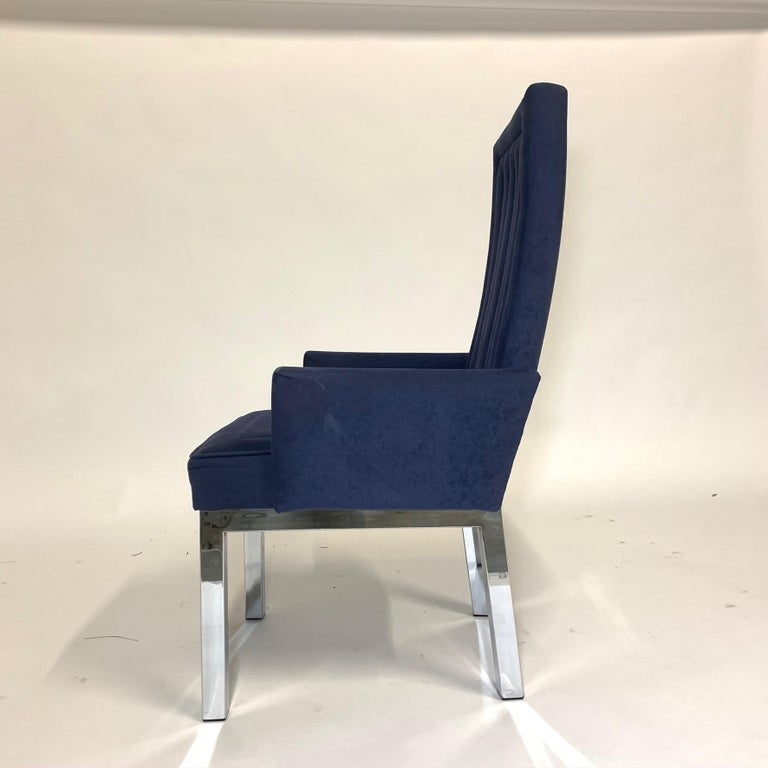 Ultrasuede Set of 6 Milo Baughman for Design Institute of America DIA Chrome Parsons Chairs For Sale