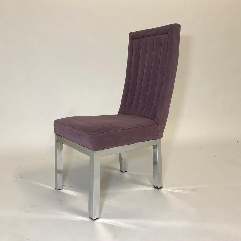 Set of 6 Milo Baughman for Design Institute of America DIA Chrome Parsons Chairs For Sale 1