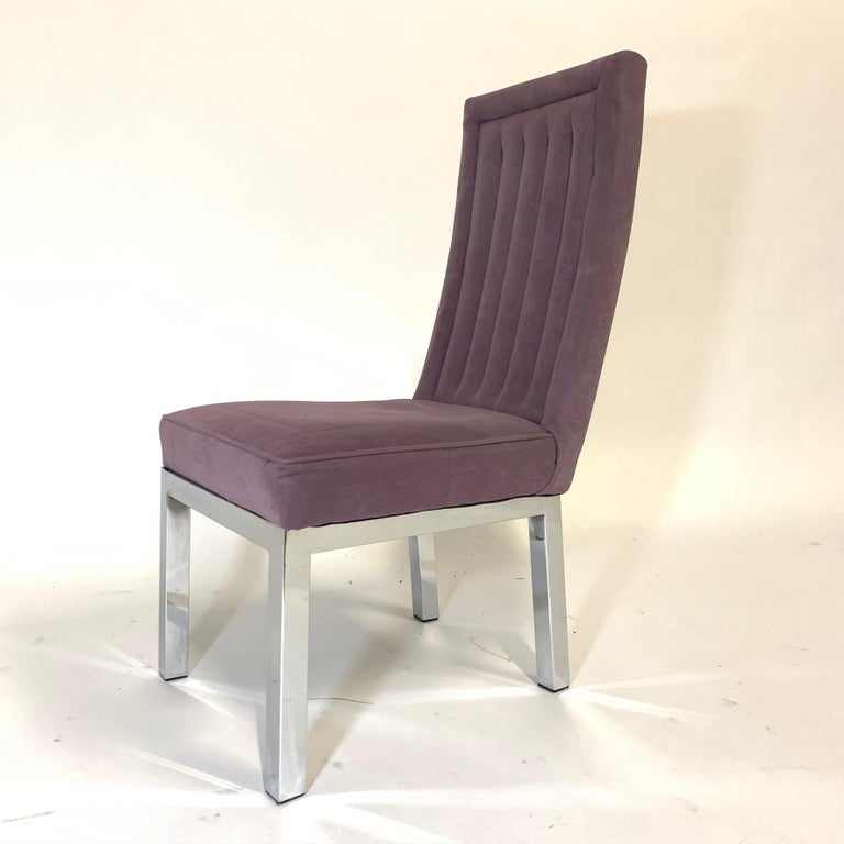Set of 6 Milo Baughman for Design Institute of America DIA Chrome Parsons Chairs For Sale 2