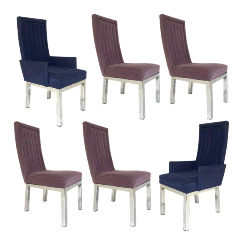 Set of 6 Design Institute of America DIA Chrome Parsons Chairs