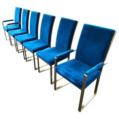 Set of 6 Milo Baughman Style Brass Dining Chairs in Blue Velveteen